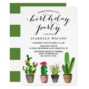 Boho Watercolor Succulents Birthday Party Invitations
