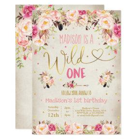 Boho Wild One Birthday Invitation Watercolor Boho