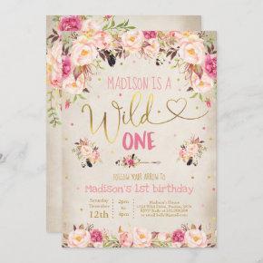 Boho Wild One Birthday Invitation Watercolor Boho