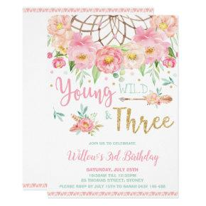 Boho Young Wild and Three 3rd Birthday Party Girl Invitation