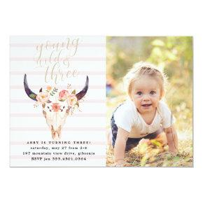 Boho Young Wild and Three Birthday Invitation