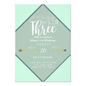 Boho Young Wild & Three | 3rd Birthday Party Invitations