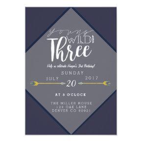 Boho Young Wild & Three | 3rd Birthday Party Invitation