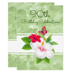 Bold Hibiscus Buttefly Birthday Celebration Card