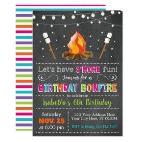 Bonfire Birthday Invitations | Backyard, Camping