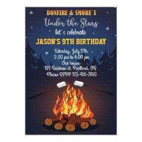 Bonfire birthday invitation Camping party invite