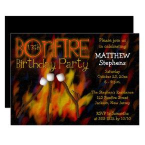 Bonfire Marshmellow Roast 13th Birthday Party Invitations