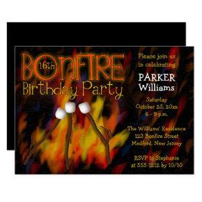 Bonfire Marshmellow Roast 16th Birthday Party Invitation