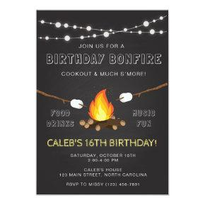 Bonfire Party Invitation, Birthday, Camp out Card