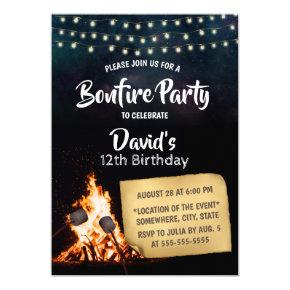 Bonfire & S'mores Camping Birthday Party Invitations