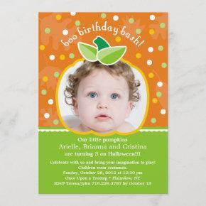 Boo Birthday Bash Pumpkin Party Invitation