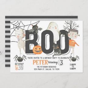 Boo Ghost Halloween Birthday Party Invitation