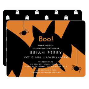 Boo! Halloween Bat & Spiders Birthday Invitations