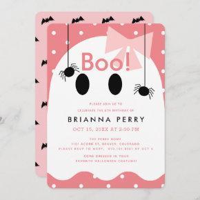 Boo! Halloween Ghost Girl Pink Birthday Invitation