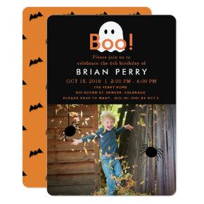 Boo! Halloween Ghost Photo Birthday Invitation