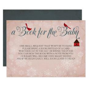 Book For The Baby, Winter Pink Insert Invitation
