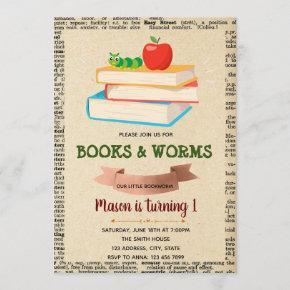 Bookworm party theme invitation
