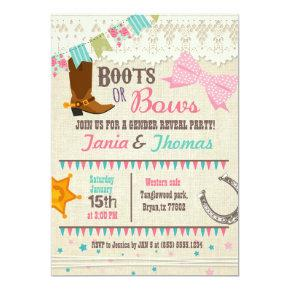 Boots or Bows gender reveal Card