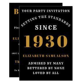 Born 1930 90th Birthday Love Add Your Name Black Invitation