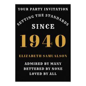 Born 1940 80th Birthday Love Add Your Name Black Invitation
