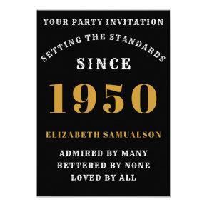 Born 1950 70th Birthday Love Add Your Name Black Invitation