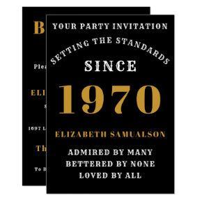 Born 1970 50th Birthday Love Add Your Name Black Invitation