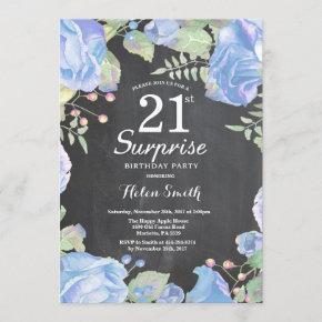 Botanical Blue Floral Surprise 21st Birthday Invitation