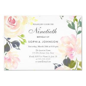Botanical Elegant Floral 90th Birthday Invite