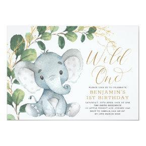Botanical Elephant Wild One Greenery 1st Birthday Invitation