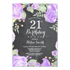 Botanical Purple Floral 21st Birthday Invitation