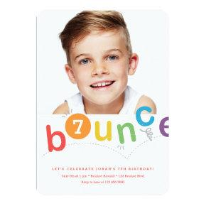 Bounce birthday party invitation with age