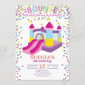 Bounce House Colorful Girl Rainbow Birthday Party Invitation