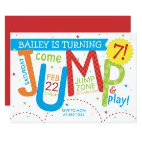 Bounce House Jump Boy Birthday Party Primary Invitation