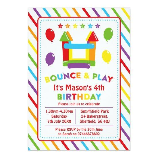 bounce house themed birthday party invitations candied clouds