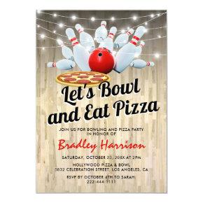 Bowling and Pizza Birthday Party Invitation