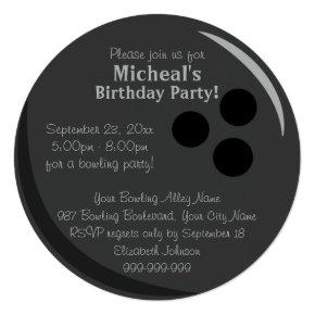 Bowling Ball Birthday Party Invitation