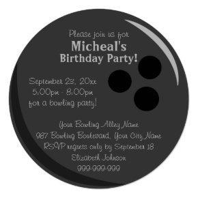 Bowling Ball Birthday Party Invitation