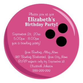 Bowling Ball Pink Birthday Party Card