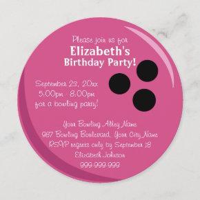 Bowling Ball Pink Birthday Party Invitation