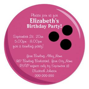 Bowling Ball Pink Birthday Party Invitations