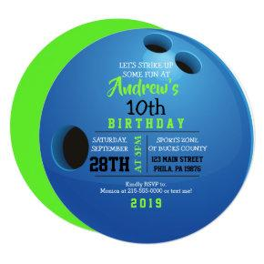 BOWLING BALL ROUND Birthday Party Invitation