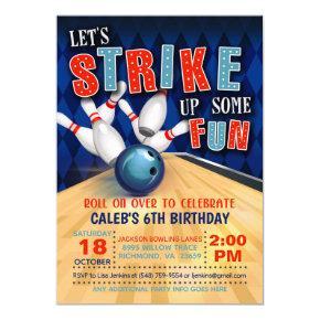 Bowling Birthday Invitation