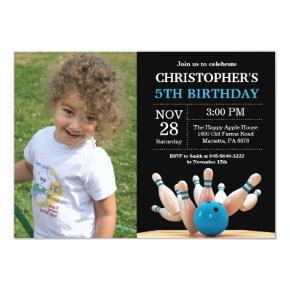 Bowling Birthday Invitation Birthday Party Blue