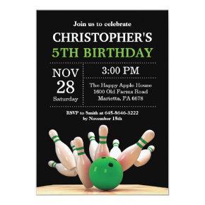Bowling Birthday Invitation Birthday Party Green