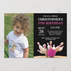 Bowling Birthday Invitation Birthday Party Pink