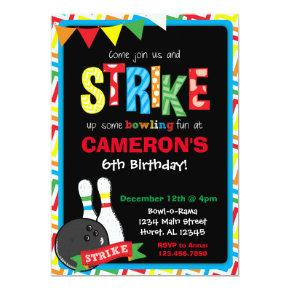 Bowling Birthday Invitation, Bowling Chalkboard Invitation