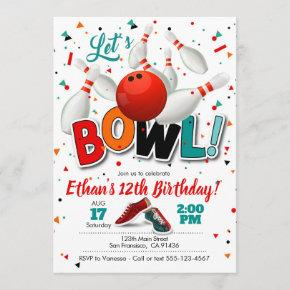 Bowling Birthday Invitation for Bowling Party