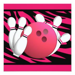 Bowling Birthday Neon Pink and Zebra Stripes Invitation