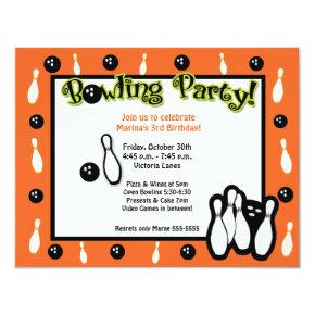 BOWLING BIRTHDAY PARTY Bowl Orange Invitation