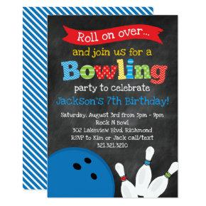 Bowling Birthday Party - Chalkboard Invitation